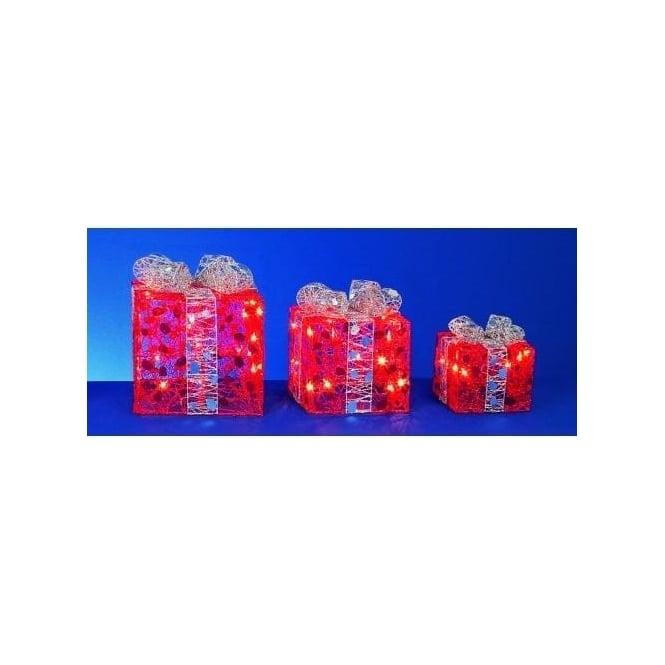 Premier Decorations Set of 3 Red Parcels With Silver Bow Detail And 40 Fairy Lights