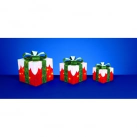 Premier Decorations Set Of 3 Red Parcels With Snow Top And 40 Warm White LED's