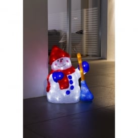 Konstsmide Snowman And Broom Outdoor Acylic Figure With White LED's