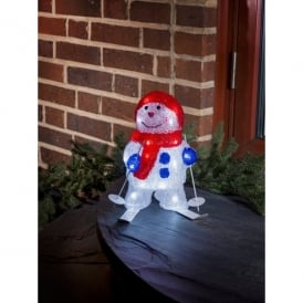 Konstsmide Snowman Outdoor Acrylic Figure with White LED and Skis