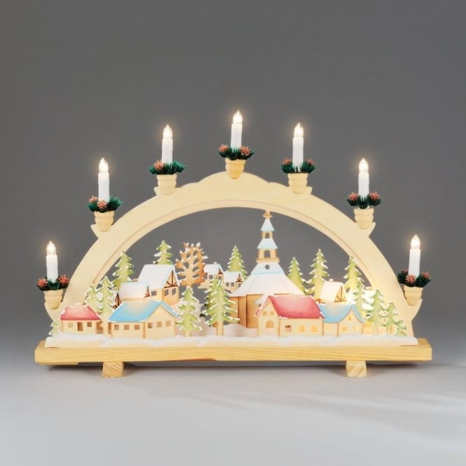 Konstsmide Welcome Candle Bridge In Natural Wood Finish With Motifs