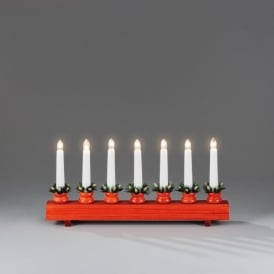 Konstsmide Welcome Light In Red Lacquered Wood Finish With 7 Candlestick Lights