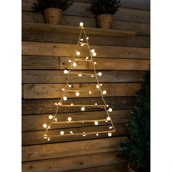 Konstsmide Wooden Pyramid with 48 Warm White LED's