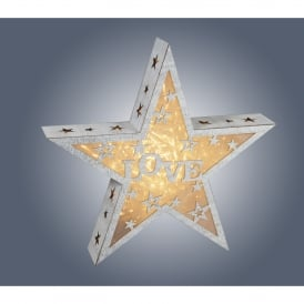 Dar Lighting Wooden Star with Love Design and integrated Warm White LED
